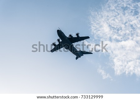 Madrid, Spain - October 12, 2017: Airbus A400M transport aircraft in Spanish National Day Parade. Several troops take part in the army parade for Spain's National Day.