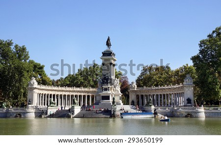 MADRID, SPAIN - OCTOBER 08, 2013: Monument to the Spanish King Alfonso XII in the Retiro Park, Madrid. This king gave the park to the city