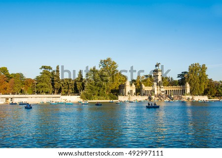 Madrid, Spain, 2016 October, 1: Pond within Buen Retiro Park