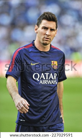 MADRID, SPAIN - October 25th, 2014 : Argentine football superstar of FC Barcelona LEO MESSI during the warm up of La Liga match at Santiago Bernabeu Stadium.  - stock photo