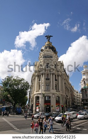 MADRID, SPAIN - OCTOBER 04, 2013: The facade of a historic building on the Gran Via in Madrid - stock photo