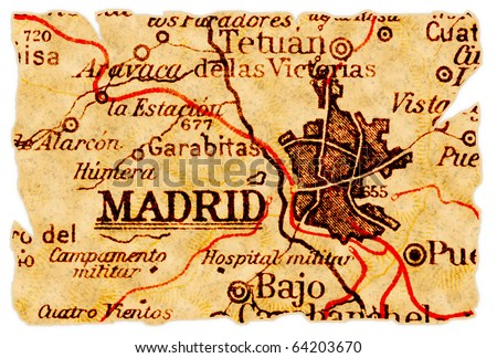 Madrid, Spain on an old torn map from 1949, isolated. Part of the old map series. - stock photo