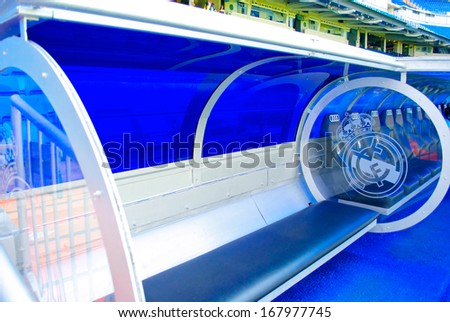 MADRID, SPAIN - SEPTEMBER, 2012: Coach bench on  the Santiago Bernabeu stadium in Madrid, Sept. 20, 2012. It's a home arena for the Real Madrid CF. - stock photo