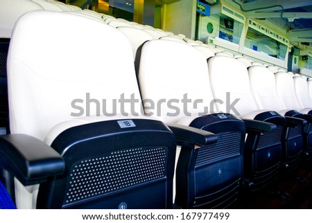 MADRID, SPAIN - SEPTEMBER, 2012: Seats  on  the Santiago Bernabeu stadium in Madrid, Sept. 20, 2012. It's a home arena for the Real Madrid CF. - stock photo