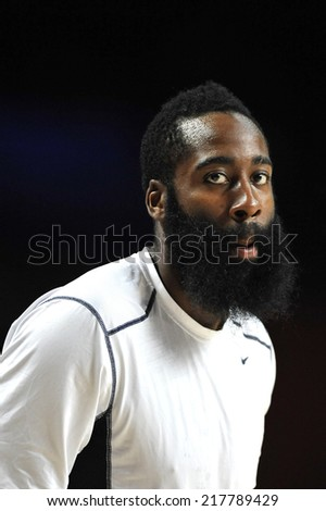 MADRID, SPAIN - September 14th 2014 : JAMES HARDEN of USA during the Final game of FIBA BASKETBALL WORLD CUP 2014 at Palacio de los Deportes Arena - stock photo