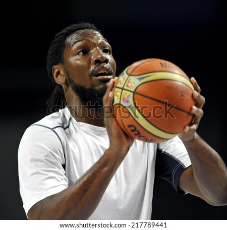 MADRID, SPAIN - September 14th 2014 : KENNETH FARIED of USA during the Final game of FIBA BASKETBALL WORLD CUP 2014 at Palacio de los Deportes Arena - stock photo