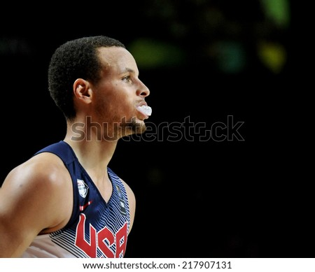 MADRID, SPAIN - September 14th 2014 : STEPHEN CURRY of USA during the Final game of FIBA BASKETBALL WORLD CUP 2014 at Palacio de los Deportes Arena - stock photo