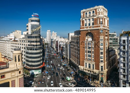 MADRID, SPAIN - SEPTEMBER 24: view of Gran Via with Vincci Capitol Hotel in Madrid, Spain on September 24, 2016.