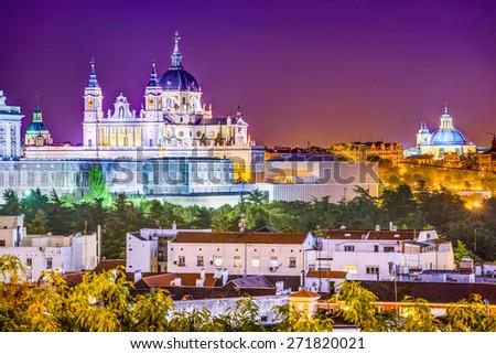 Madrid, Spain skyline at Santa Maria la Real de La Almudena Cathedral and the Royal Palace. - stock photo