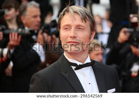 Mads Mikkelsen attends the closing ceremony during the 68th annual Cannes Film Festival on May 24, 2015 in Cannes, France. - stock photo
