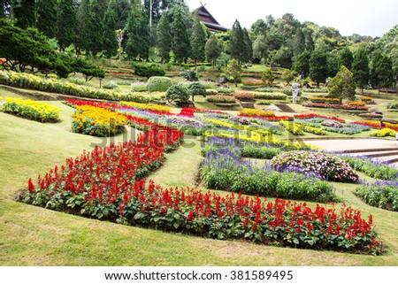 Mae Fah Luang Garden,locate on Doi Tung,Thailand - stock photo
