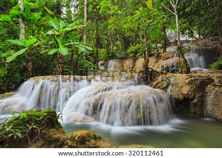 Mae Kae Waterfall is Unseen waterfall in Ngao Lampang of Thailand - stock photo