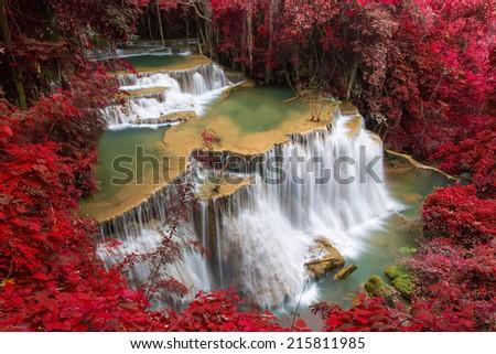 Mae Kamin Waterfall in Thailand - stock photo