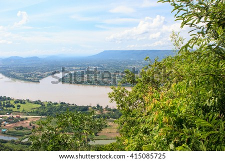 Mae Khong river's view from mountain, Thailand ,Mekong river at dusk