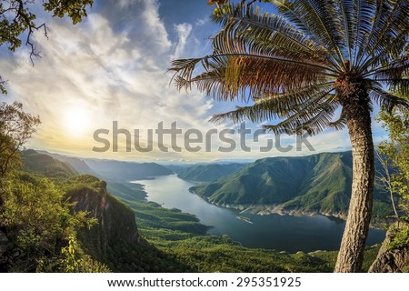 Mae Ping National Park at sunrise - stock photo
