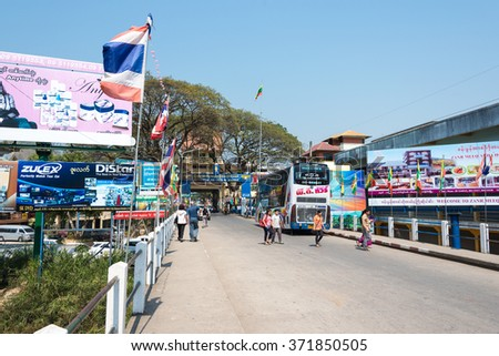 Mae Sai, Thailand. - Feb 26 2015: Myanmar-Thailand bridge in Mae Sai Town. The town of Mae Sai is a major border crossing between Thailand and Myanmar.