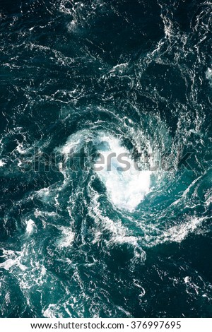 Maelstrom, natural phenomenon of whirlpool, called saltstraumen, Norway - stock photo
