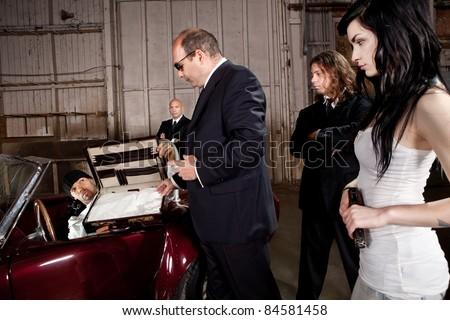 Mafia drug deal - stock photo