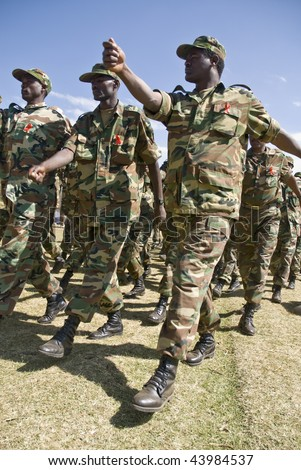 MAGAALAA FITCHE GODINA, FITCHE - NOV 30: Ethiopian Army Soldiers Marching Passed the Dignitaries at the 20th World Aids Day Event on November 30, 2008 in Fitche, Ethiopia.