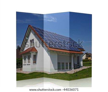 magazine / brochure of a modern house with solar panel - stock photo