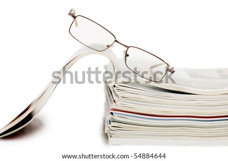 Magazine isolated on white background - stock photo