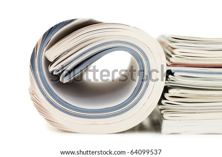 Magazine isolated on white background - stock photo