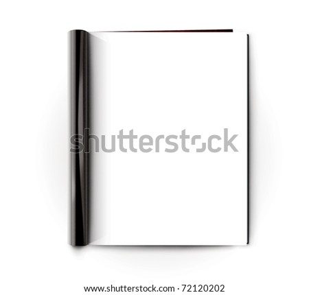 magazine on a white background with white pages - stock photo