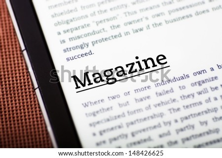 Magazine on tablet pc screen, ebook concept
