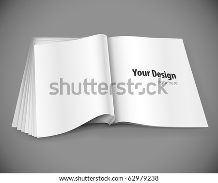 magazine page with design layout vector illustration on gray background - stock photo