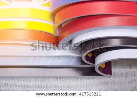 magazine stacked. - stock photo