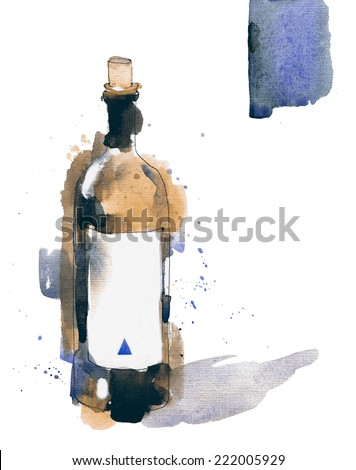 Magazine style vintage splattered watercolor ilustration of wine bottle - stock photo
