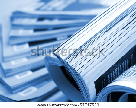 Magazines close-up - stock photo