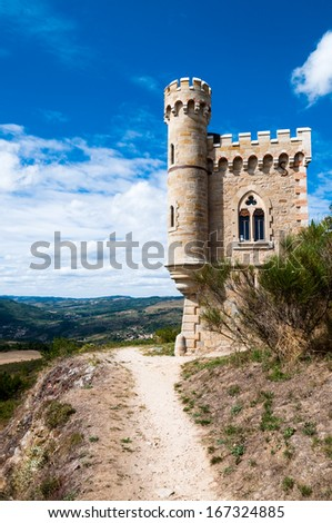 Magdala tour and walking path at  Rennes le Chateau in France - stock photo