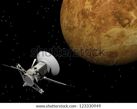 Magellan spacecraft near Venus planet by night - Elements of this image furnished by NASA - stock photo