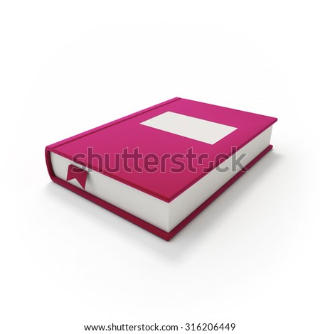 Magenta book or notebook with bookmark and blank title label, isolated with soft shadow on clean white background
