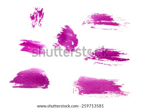 Magenta brush strokes set. Watercolor - stock photo