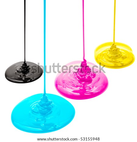 Magenta, cyan, yellow and black liquid paints isolated - stock photo