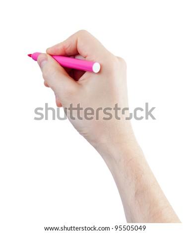 magenta felt pen in hand isolated on white - stock photo