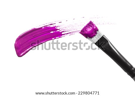 Magenta pink brush stroke isolated over white - stock photo