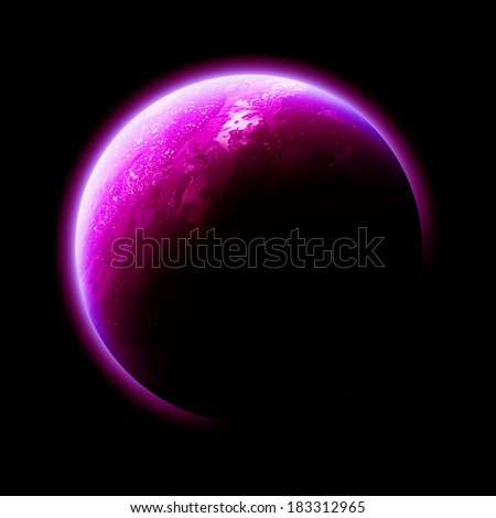 Magenta Planet Isolated - Elements of this image furnished by NASA  - stock photo