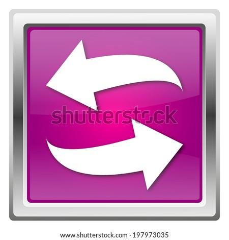 Magenta shiny glossy icon isolated on white background - stock photo