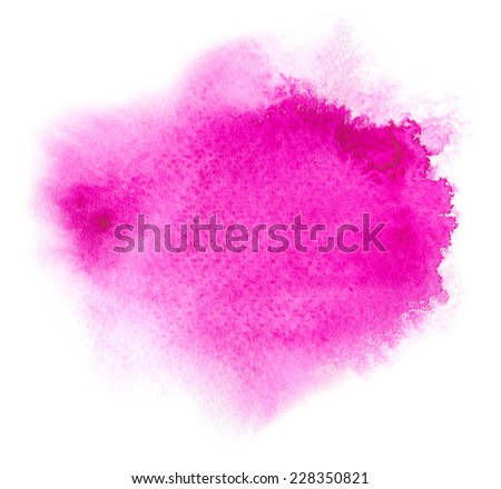 Magenta water color background with water colour paint blotchiness and brush strokes  - stock photo