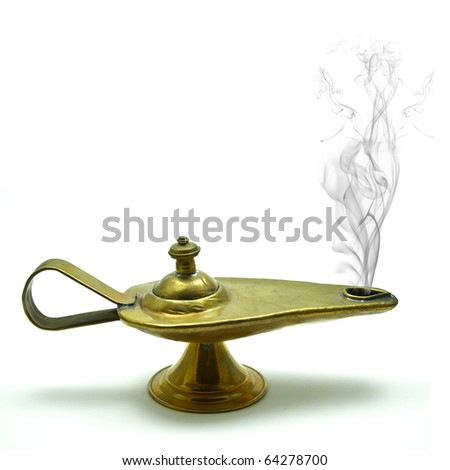 magic aladin lamp on a white background: 3 wishes free - stock photo