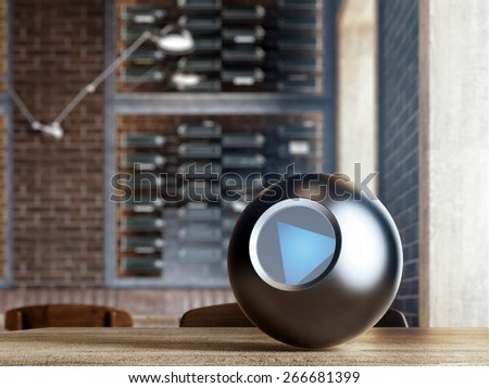 Magic 8 Ball on table. 3d rendering - stock photo