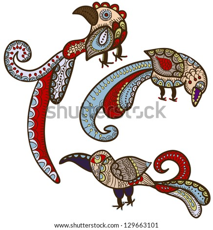 magic birds in ethnic style give happiness - stock photo