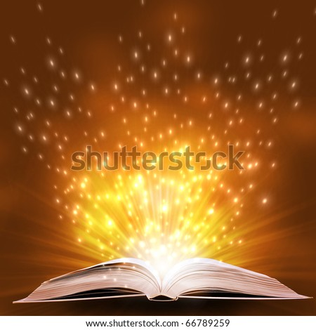 magic book on a  background with the lines and lights - stock photo