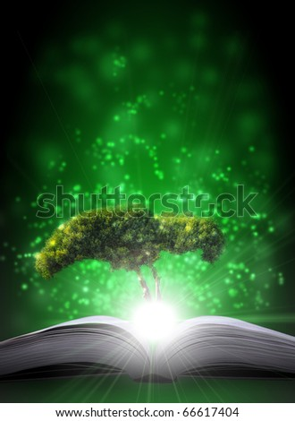 magic book on a blue background with the lines and lights - stock photo