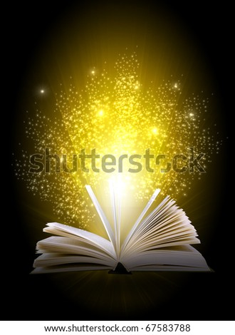 magic book on a blue background with the lines and lights