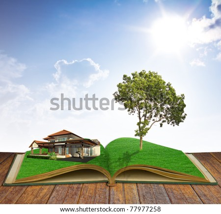 magic book with house and tree - stock photo