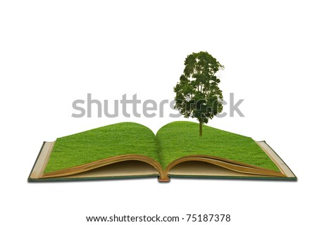 Magic book with Tree growing on white background - stock photo